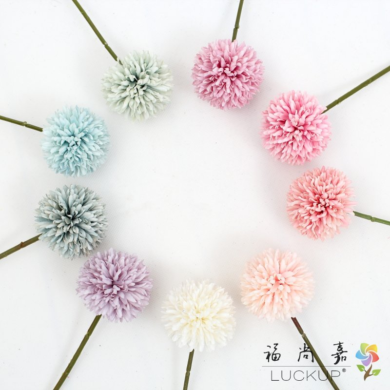 US $4 76 14% OFF|6 PCS Beautiful Single Stem Silk Flower Artificial  Hydrangea Dandelion Ball Home Decoration 9 Colors Available F490-in  Artificial &