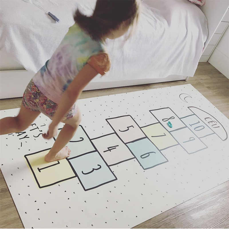 Детские Напольные Нескользящие коврики для игры комната для мальчиков и девочек пол прыжки сетки цифровые шашки коврик ковер ребенок ползающий комната Декор игровой коврик