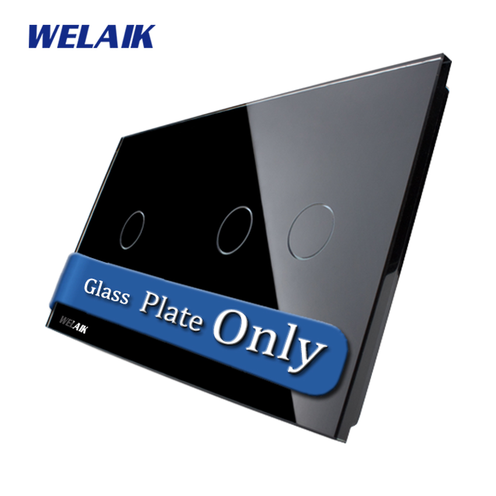 WELAIK  Touch Switch DIY Parts  Glass Panel Only of Wall Light Switch Black  Crystal Glass Panel 1Gang+2Gang  A2912B1 smart home us au wall touch switch white crystal glass panel 1 gang 1 way power light wall touch switch used for led waterproof