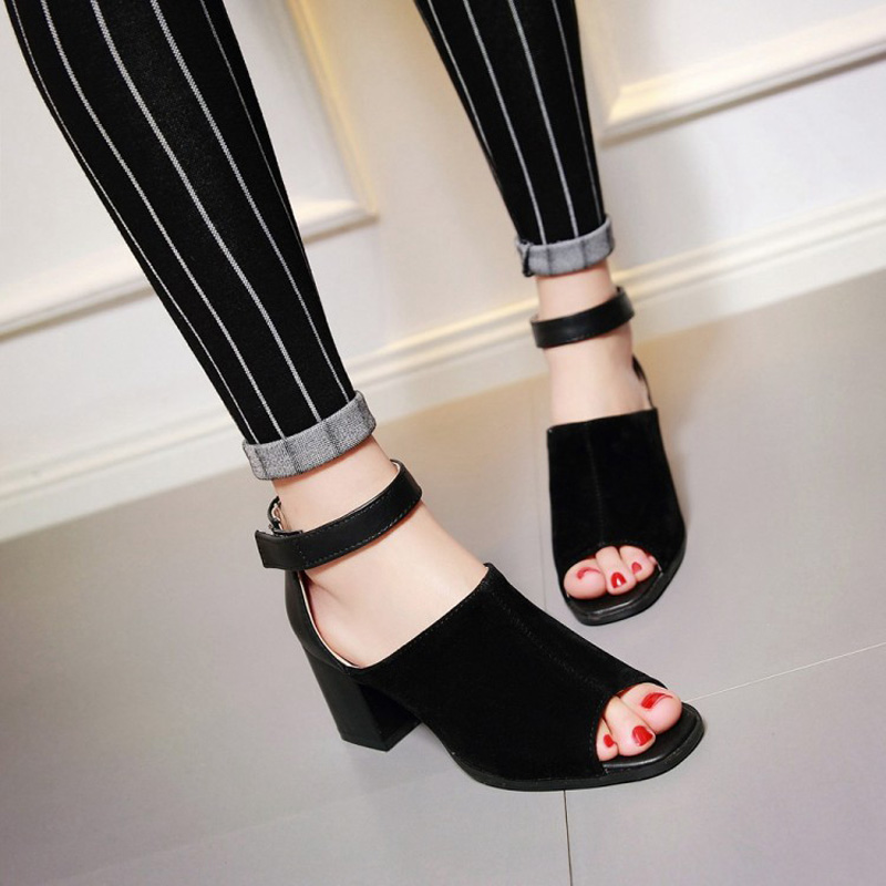 Big Size Women Sandals Chunky Cover Heels Woman Shoes Ankle Strap Sexy Ladies Summer Shoes Plus Sizes EU26-62 WSH1128