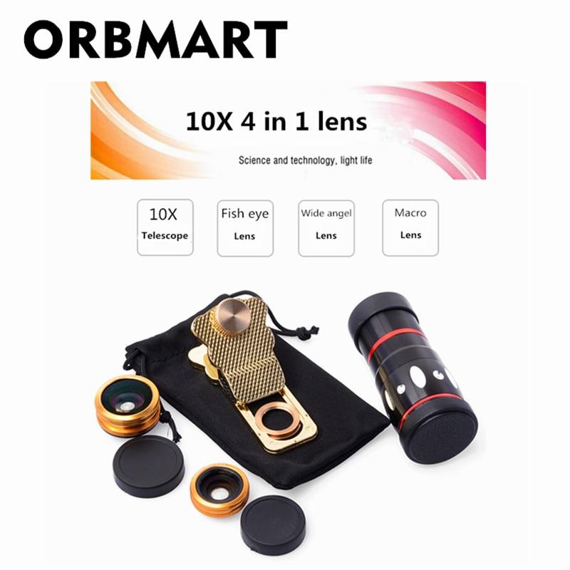 ORBMART Universal 4 in 1 Clip 10X Zoom Telescop Fisheye Wide Angel - Accesorii și piese pentru telefoane mobile