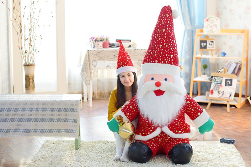 huge 130 cm Xmas Tree dressed Santa Claus plush toy Father Christmas doll , home decoration, Christmas gift b7893 inflatable cartoon customized advertising giant christmas inflatable santa claus for christmas outdoor decoration