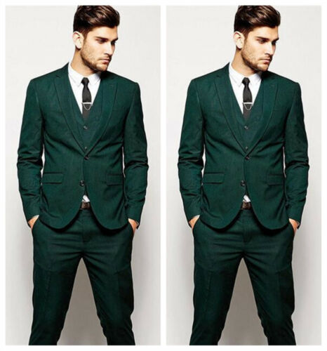 Fashion Mens Dark Green Suit Formal Grooms Wedding Business Suits Custom Made