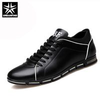 URBANFIND 2016 Men Shoes PU Leather Casual British Style Lace Up Brown Black Men Dress Shoes