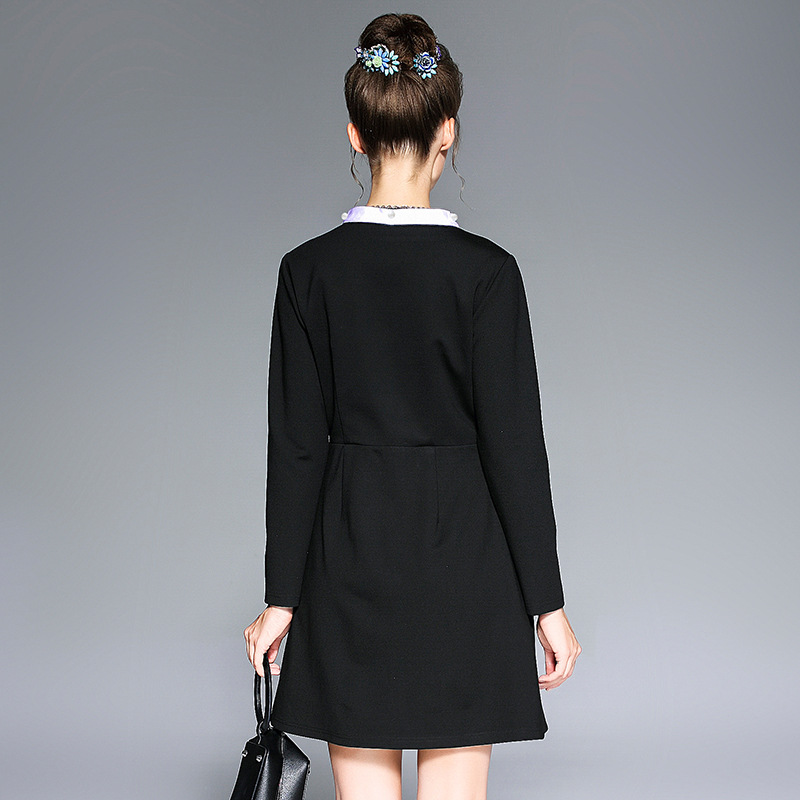 dfbc241c8d8eb black office lady dress white bow collar plus size S to 5XL EU size women  clothing simple casual dresses-in Dresses from Women s Clothing on  Aliexpress.com ...