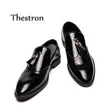 Thestron Loafers Men Casual Shoes Plus Size 45 46 47 Luxury Tassel Black Fashionable Mens 2018 Autumn