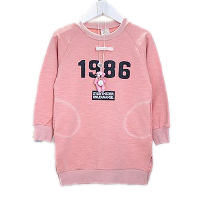 Korean Children Clothing Baby Girls Sweatshirt Long Sleeve Pink Letter Print 100&Cotton Kids Long Hoodies Girls Top 2-7Years