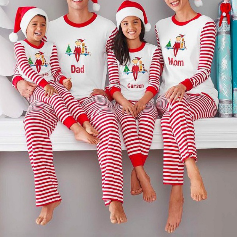 Autumn 2 Pcs Christmas Pajamas Sets Family Matching Striped Cotton Cartoon Home Clothes Fashion Long Sleeve Sleepwear Suit