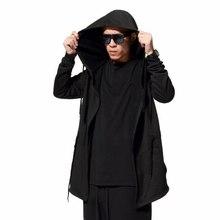 Hombres Negro Capa Hoodies Streetwear de Manga Larga Con Capucha Sudaderas Loose Pullover Outwear Hombre