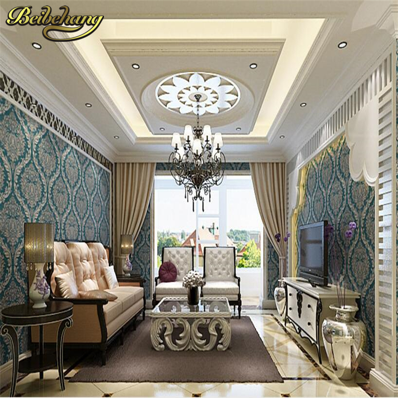 beibehang 3D Stereo Continental Luxury Damascus Wallpaper Living Room TV Backdrop Bedroom Green Wall paper papel de parede 3d beibehang papel de parede 3d dimensional relief korean garden flower bedroom wallpaper shop for living room backdrop wall paper