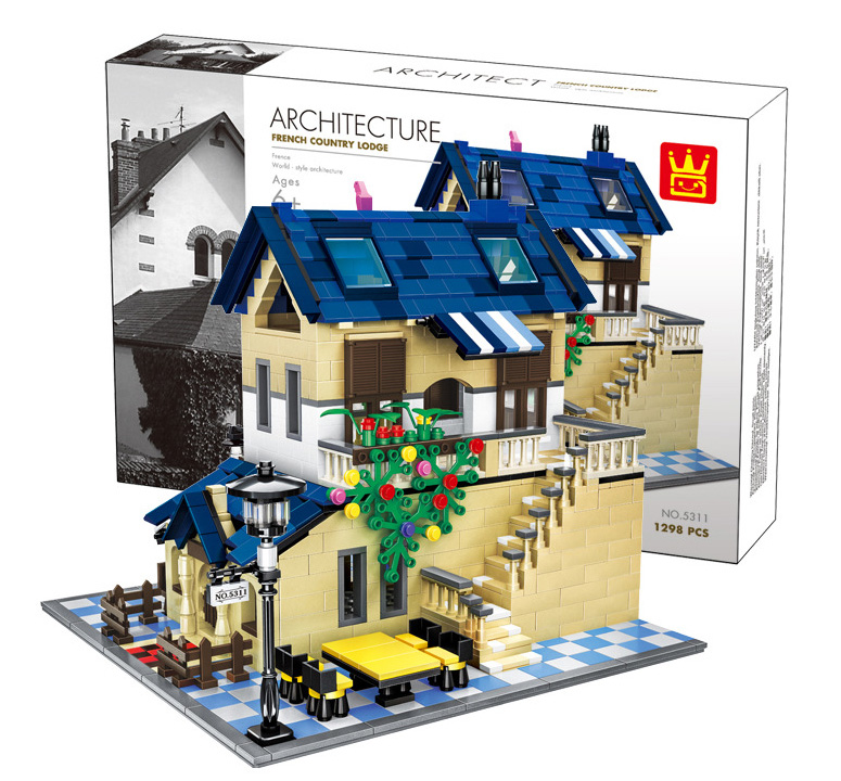 Architecture series the Rural villa Model Building Blocks set Classic house education Toys for children5311