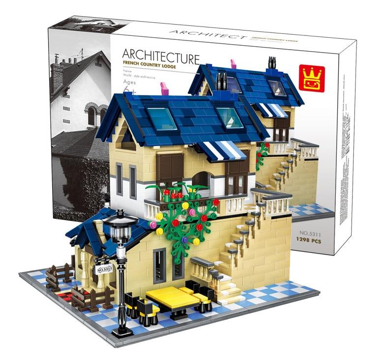 Конструктор «сельская Вилла» из серии «архитектура», набор строительных блоков, Классические домашние Развивающие игрушки для детей 5311