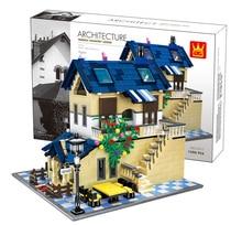 Architecture series the Rural villa Model Building Blocks set Classic house education Toys for children5311