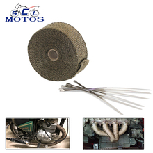 Sclmotos-5 10 15M Titanium Color Exhaust Pipe Header Heat Wrap Resistant Stainless Steel Ties for Car Motorcycle