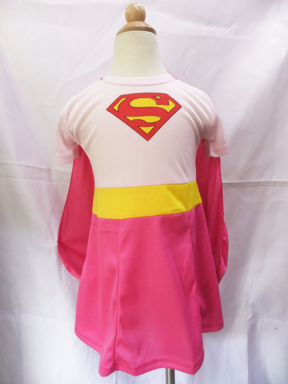 Halloween Party 3 -7 years pink short sleeves girl superman two-piece dress short superman (skirt+shawls)