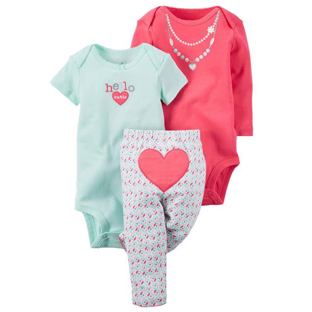 2017 Original muchacha de los cabritos que arropan 3 unids ropa del bebé, roupas de bebes conjuntos bebé ropa de niña de invierno pantalones conjuntos