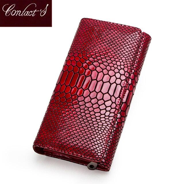Contact en cuir véritable portefeuille femmes longue pochette moraillon femme porte monnaie rfid porte carte portefeuilles pour femmes portfel damski