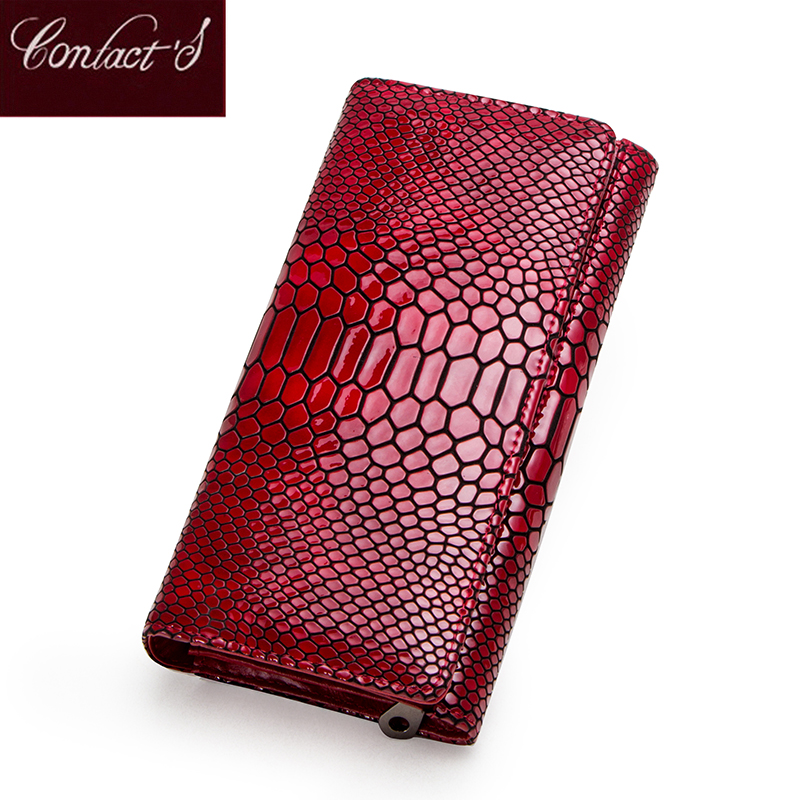 Contact's New Women Wallets Genuine Leather Long Clutch Serpentine Design Cowhide Wallet High Quality Fashion Female Purse