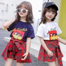 Kids Fashion Teenage Girls Clothing Cartoon Cotton Girls Short Sets Summer Clothes for Kids Girl Cute Plaid Skirt Shorts T-shirt стоимость