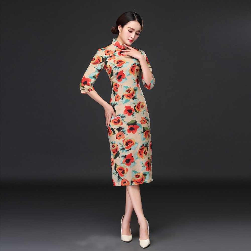 88230f1f6 ... Summer New Chinese Traditional Cheongsam Women's Cotton Linen Qipao  Elegant Long Dress Slim Dress S M L XL