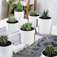 Set of 3pcs Ceramic Flower Pot Iron Metal Shelf Home Decoration Succulent Plant Pot Mini Bonsai Planter Pot