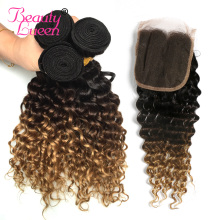 Ombre Human Hair Bundles With Closure Honey Blonde Deep Wave Remy Hair Remy Brazil 3 Bundles With Closure 1B 4/27 Malaysian