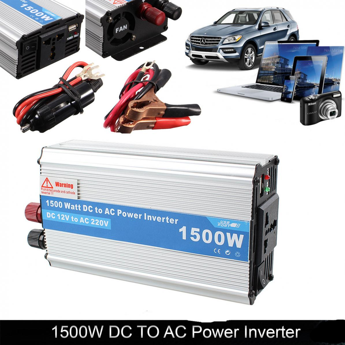 1500W Car Power Inverter DC 12V to AC 220V Power Charger Converter Car Inverter Adapter for