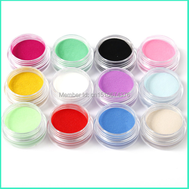 12 Colors Acrylic Powder Manicure Tips Nail Art 3D Decoration Builder Polymer Free Shipping