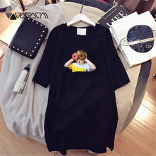 Summer Women Dresses Small Boy Print Fashion Loose Cartoon Cute Character Black White Plus Size Short Sleeve Dress Casual