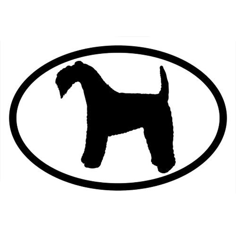 15.2*10.2CM KERRY BLUE TERRIER Dog Oval Car Cover Scratches Decorative Stickers Cartoon Vinyl Decals C6-1502