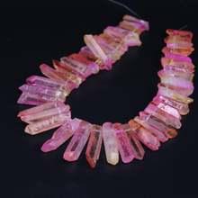 Бусины Из розового и желтого титанового кристалла с отверстием