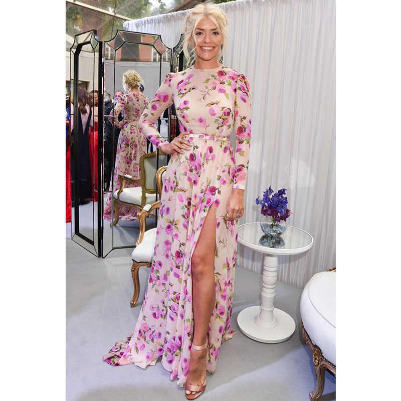 869b5525f2d ... Sexy high split summer dress Women floral print long dress streetwear  2019 new Pink boho maxi ...
