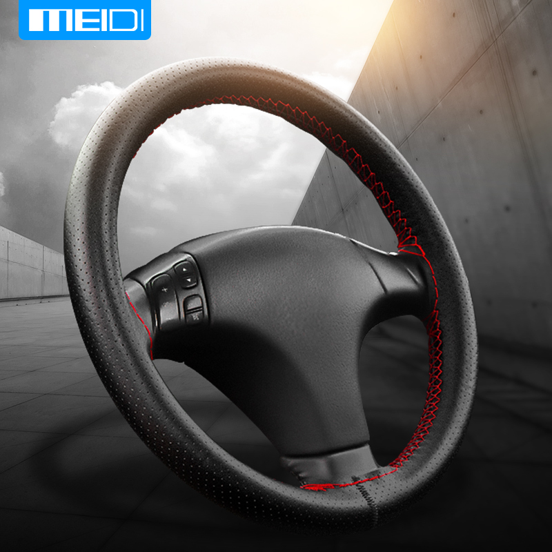 MEIDI Car Steering Wheel Covers Fits Outer Diameter of 37-38CM DIY Genuine Leather Braid On The Steering-Wheel Of Car perforated breathable skidproof steering wheel cover diameter 36cm 38cm 40cm fiber leather handlebar braid car covers