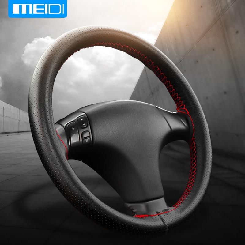 MEIDI Car Steering Wheel Covers Fits Outer Diameter of 37-38CM DIY Genuine Leather Braid On The Steering-Wheel Of Car