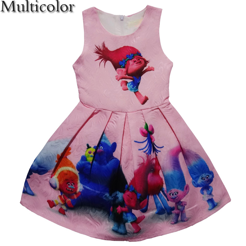 Hot New 2018 Girls Floral Cartoon Print Princess Party Dress Vestidos Kids Costume 2-10Y ...