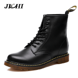 2018 Unisex Leather Boots Fashion Winter/Autumn Casual Ankle Boots Warm Couple Snow Boots Motorcycle Martin Boots Men Big Size