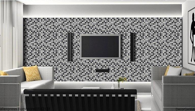 Mur Stickers carrelage salle de bains carrelage noir gris blanc ...