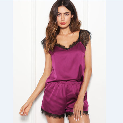 Women Silk Satin Nightie Lingerie Sleepwear Pyjamas Set Shorts + Strappy Vest