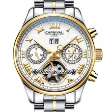 Carnival Mens Multifunction Holllow-out Dial Steel Watchband Automatic Self-Wind Mechanical Watch – gold bezel white dial