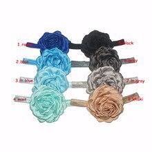 20 шт./лот, 9,5 см атласные шифоновые цветы, цветок пиона с эластичной повязкой на голову аксессуары для волос DIY