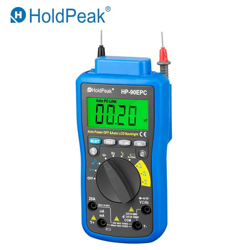 HoldPeak HP-90EPC Multimetro Digitais USB Multimeter Digital Temperature Instruments Capacitance Meter Data USB Hold Multimeters цена