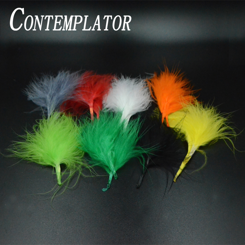 30pcs blood turkey marabou fly fishing tying materials 8optional colors woolly bugger tail body fly tying feathers streamers