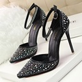 Fashion 2016 Women High Heels Dress Stilettos Rinestone Pointed Toe Ankle Strap Vintage Women Pumps Sexy Ladies Party Shoes