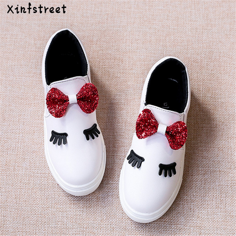Kids Shoes For Girls 2019 Cute Bow Slip-On Girls Shoes Princess Fashion Toddler Kids Girls Sneakers Size 21-36