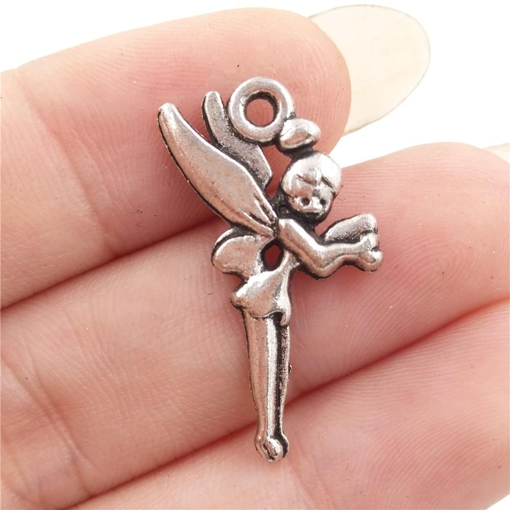 BULK 30pcs Zinc Alloy Antique Silver Plated Fairy Tale Guardian Angel Girl Charms Pendants DIY Jewelry Findings 14*25mm 1.4g