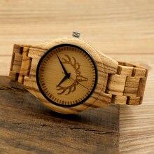 BOBO PÁJARO Caliente Cebra Cabeza de Ciervo De Madera Del Reloj Del Cuarzo de Japón relojes Clásico Diseñador de la Marca de Relojes De Madera Para Los Hombres Como Regalo Relogio