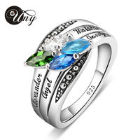 UNY Mom S Personlized Special Unique Marquise Birthstone Ring 925 Sterling Silver Customized 4 Stone Engrave