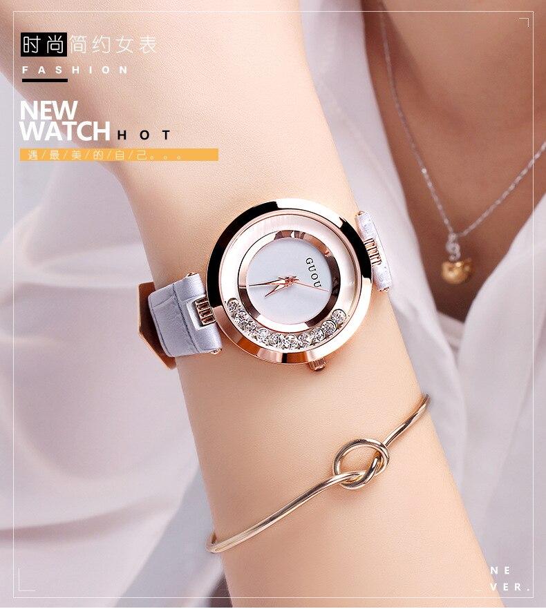 Fashion GUOU Women's Clocks Ladies Luxury Bracelet Wrist Watches Women Rose Gold Steel Rhinestone Gift Women reloj mujer saat