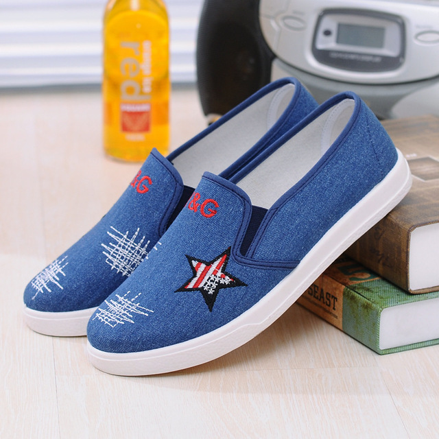 0076a48047e 2016 spring autumn Europe US new fashion star Jeans embroidered shoes  elastic band Loafer shoes flat canvas shoes women blue
