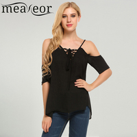 Meaneor Women Casual Spaghetti Strap Front Lace Up Cold Shoulder Solid Sexy Tops